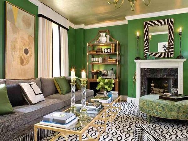 green living room with gold ceiling
