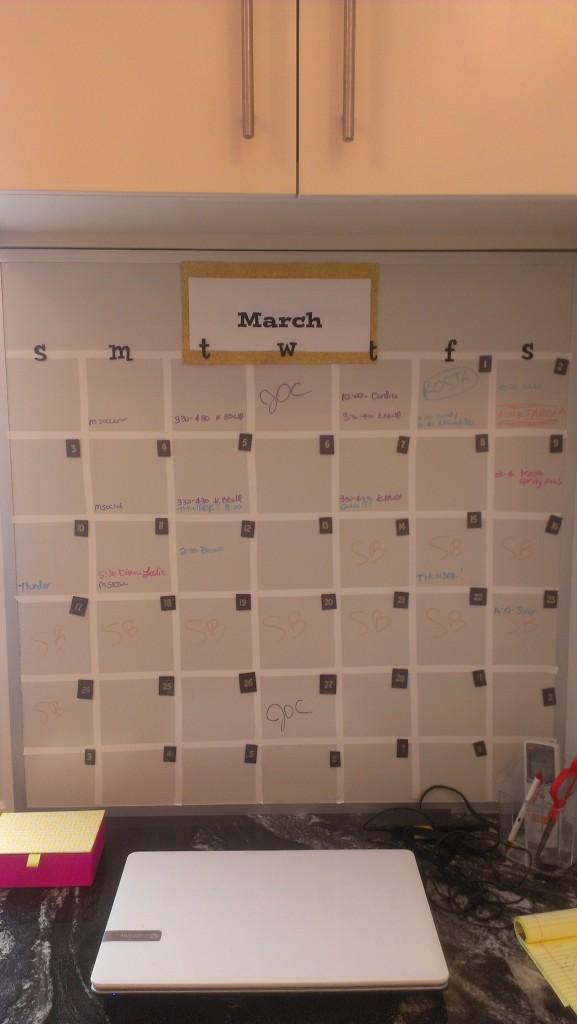 Dry Erase Magnet Wall DIY Calendar