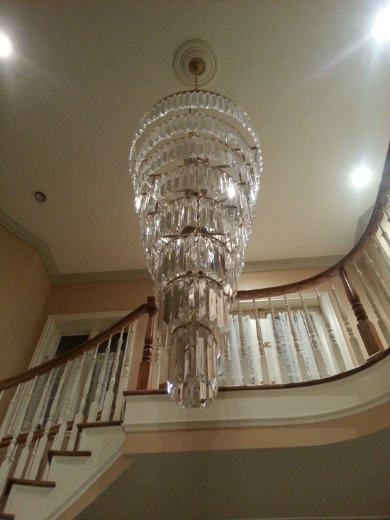 View from the bottom, foyer chandelier