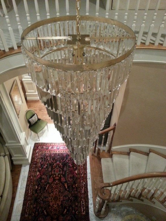 View from the top, foyer chandelier