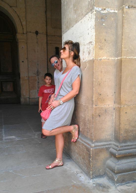 Gray dress at Invalides Paris