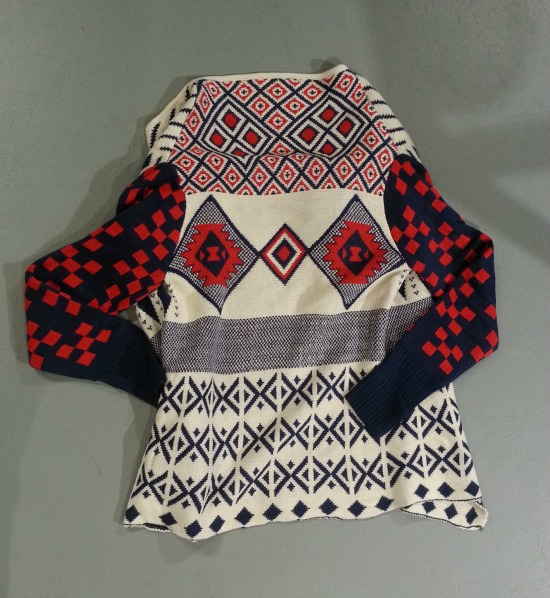 Red White Blue Sweater Bow and Arrow Back