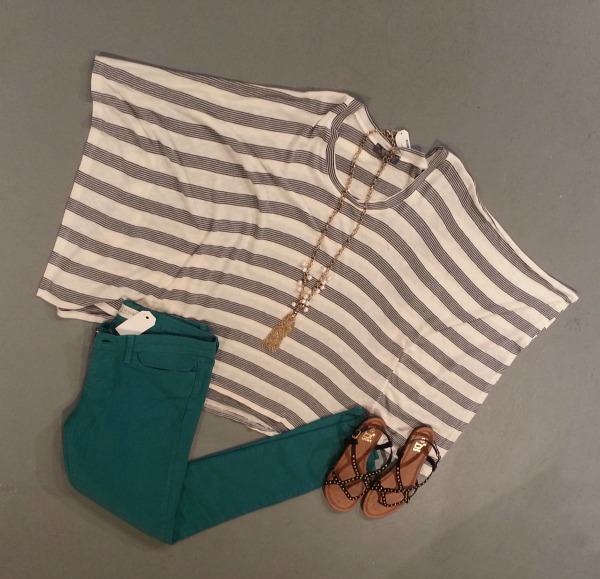 Emerald Jeans Striped Top Bow and Arrow on The OP Life