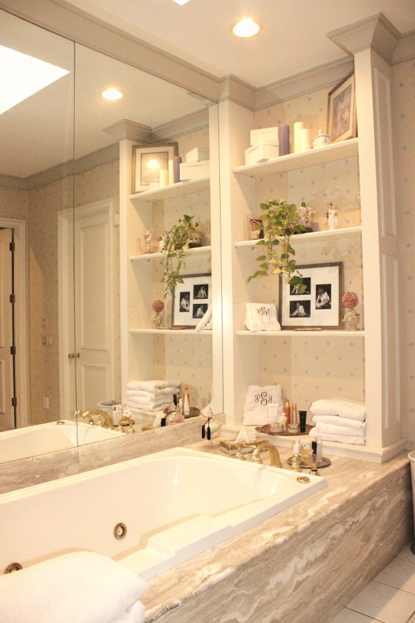 Master Bath, white towels the op life