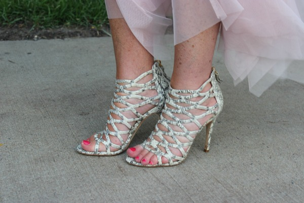 Elie Tahari Cage Sandals w Toule Skirt The OP Life
