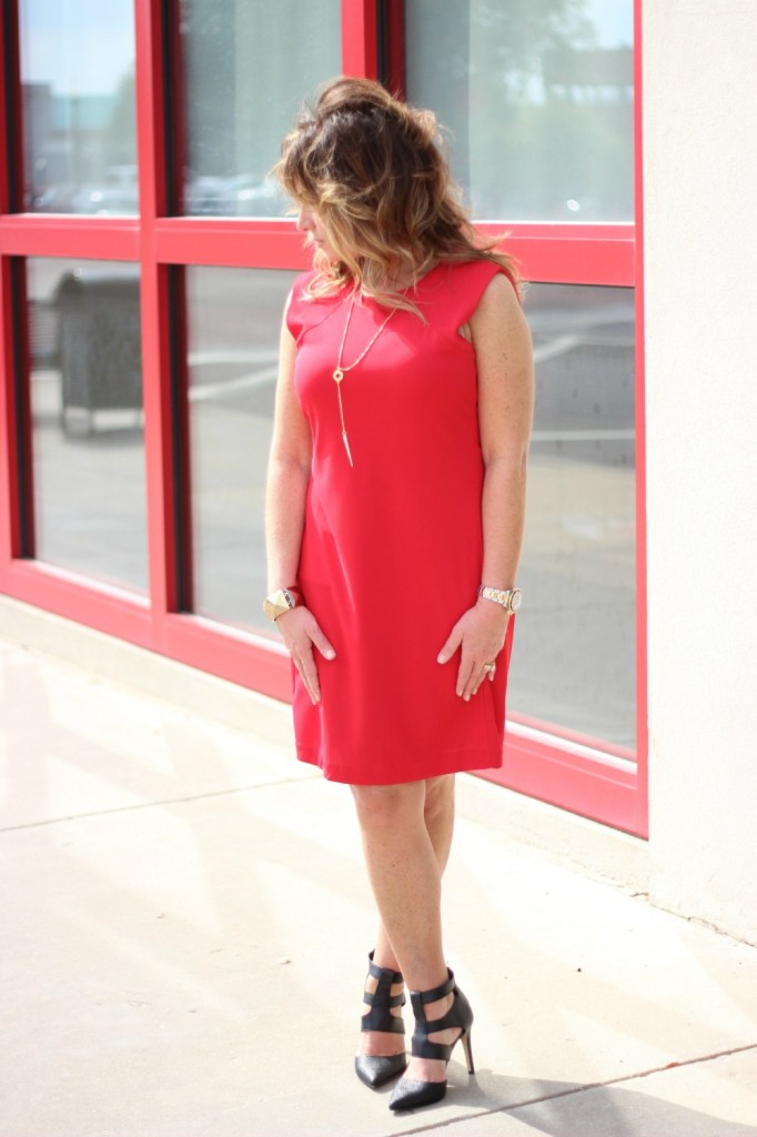 Red Dress Dolce Vita Shoes Shira Melody Necklace 3 The OP Life