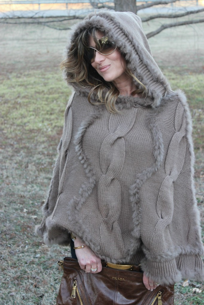 Fur Hooded Poncho Prada Bag 5 The OP Life