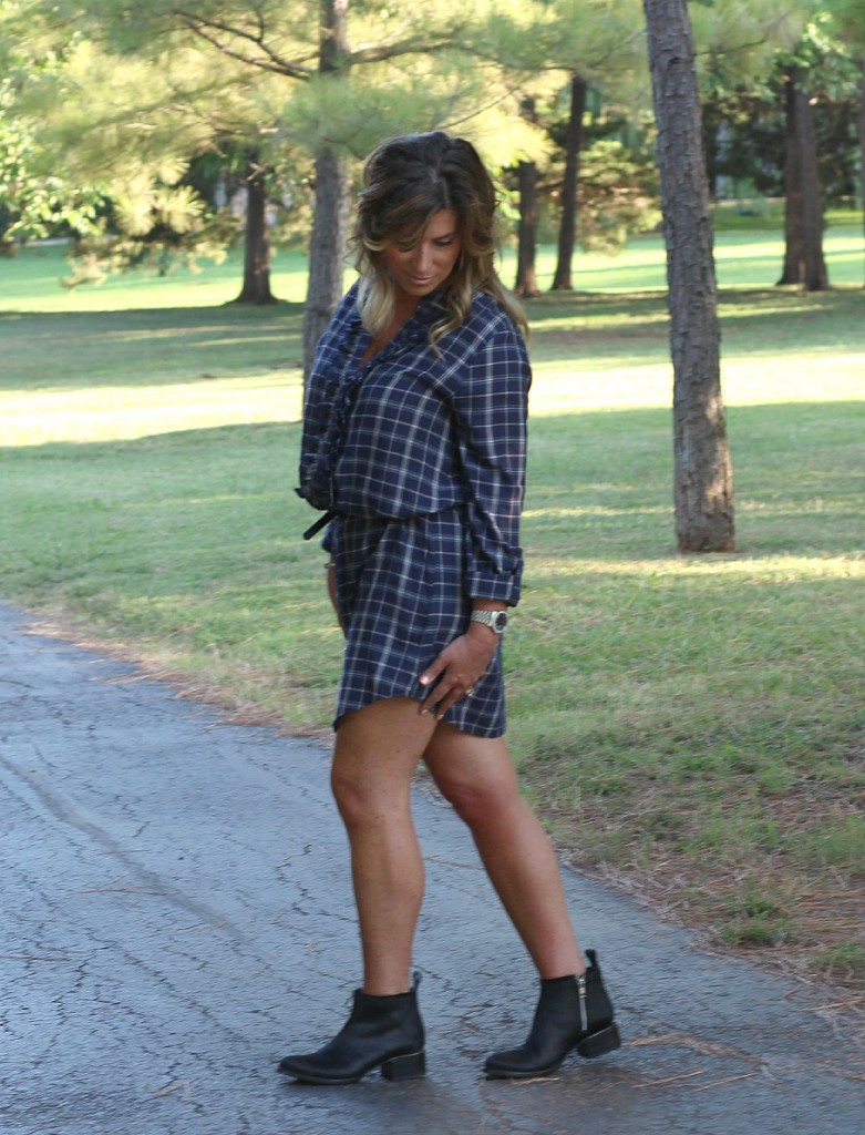 Joie Navy Shirtdress with Booties Elizabeth and James pony hair 2