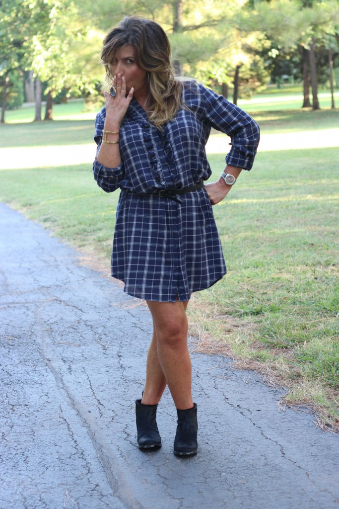 Joie Navy Shirtdress with Booties Elizabeth and James pony hair 4