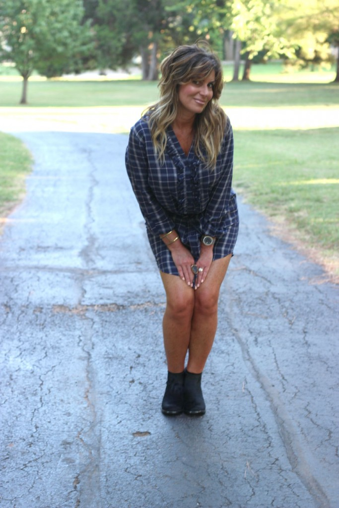 Joie Navy Shirt Dress with Booties Elizabeth and James pony hair  5