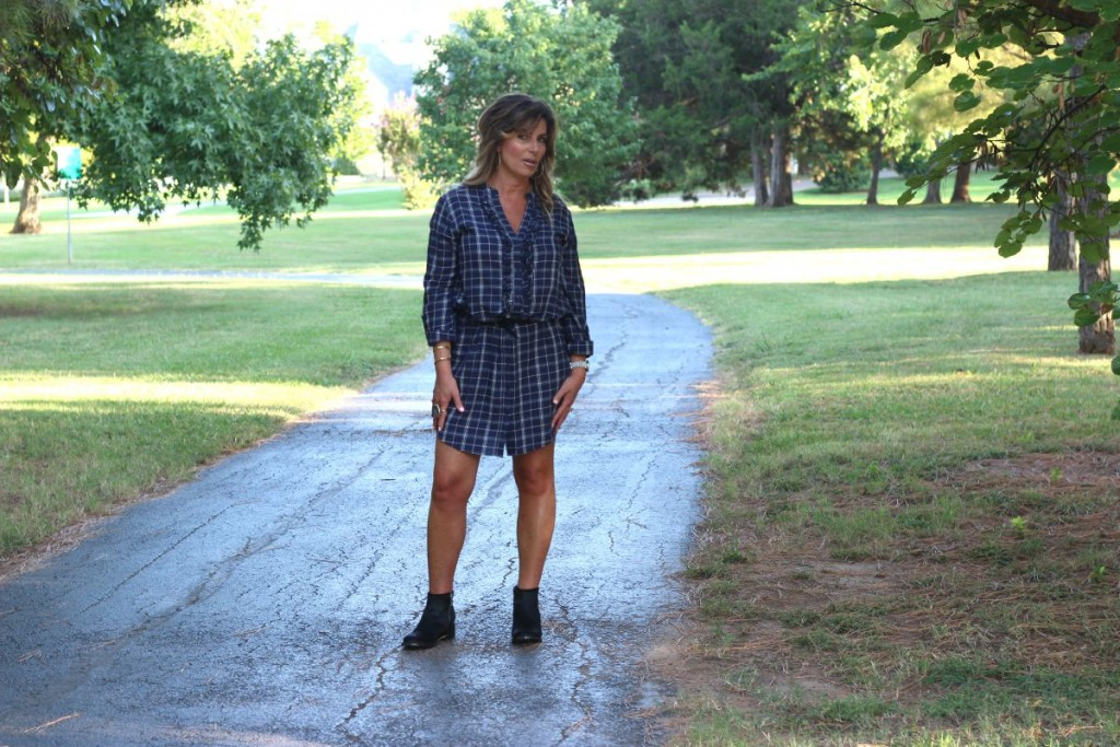 Joie Navy Shirtdress with Booties Elizabeth and James ponyhair