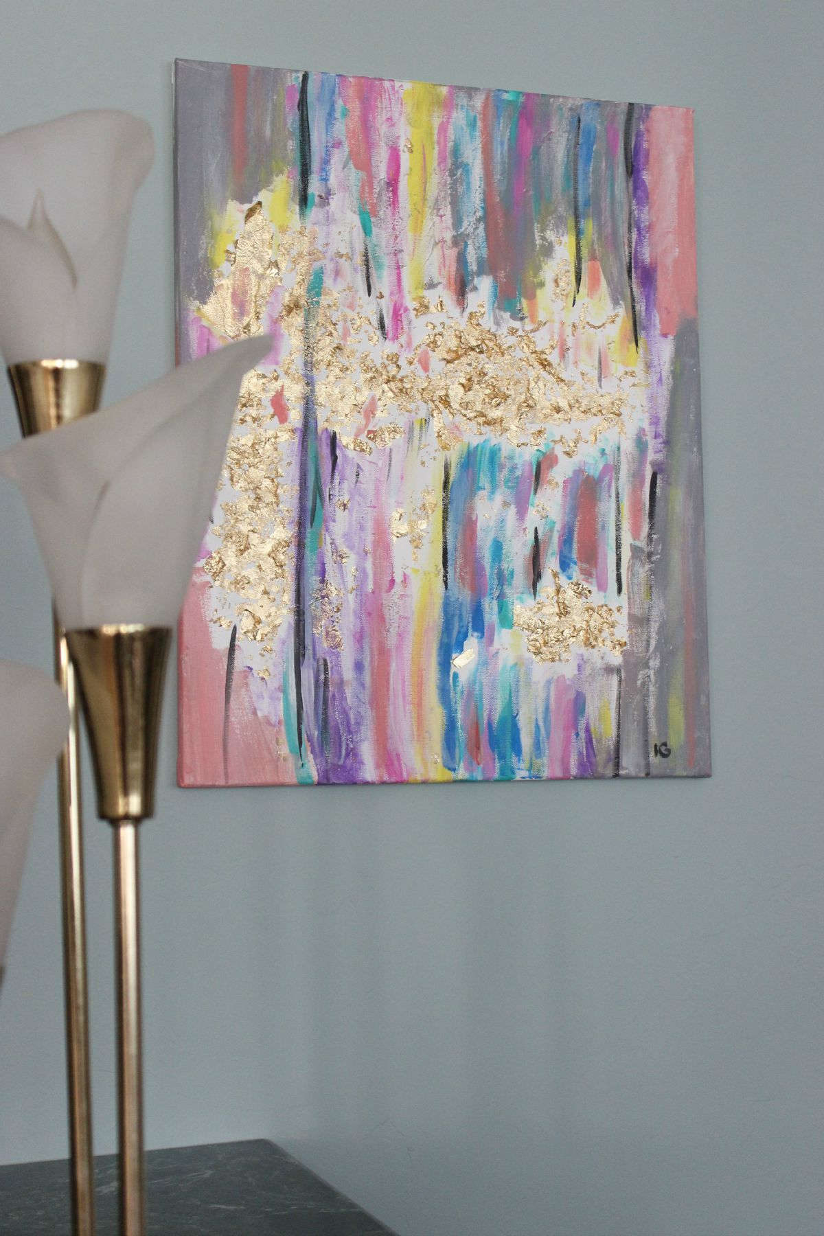 painting with acrylics and gold leaf