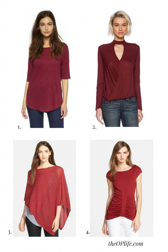 White Jeans for fall with Marsala Tops