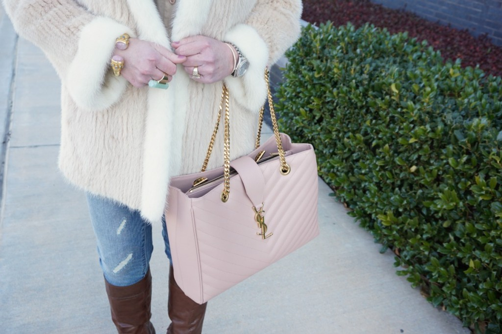 Shop Your Closet Casual Shopping Day Vintage Fur Blush YSL Tote The OP Life 6