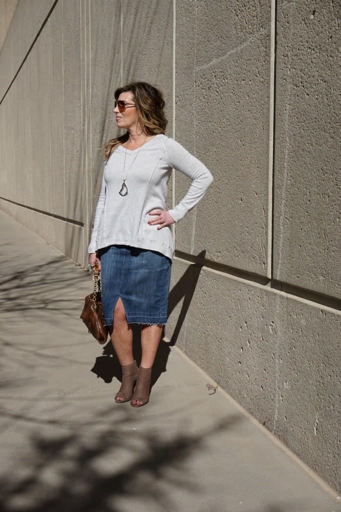 what to wear the denim pencil skirt the op