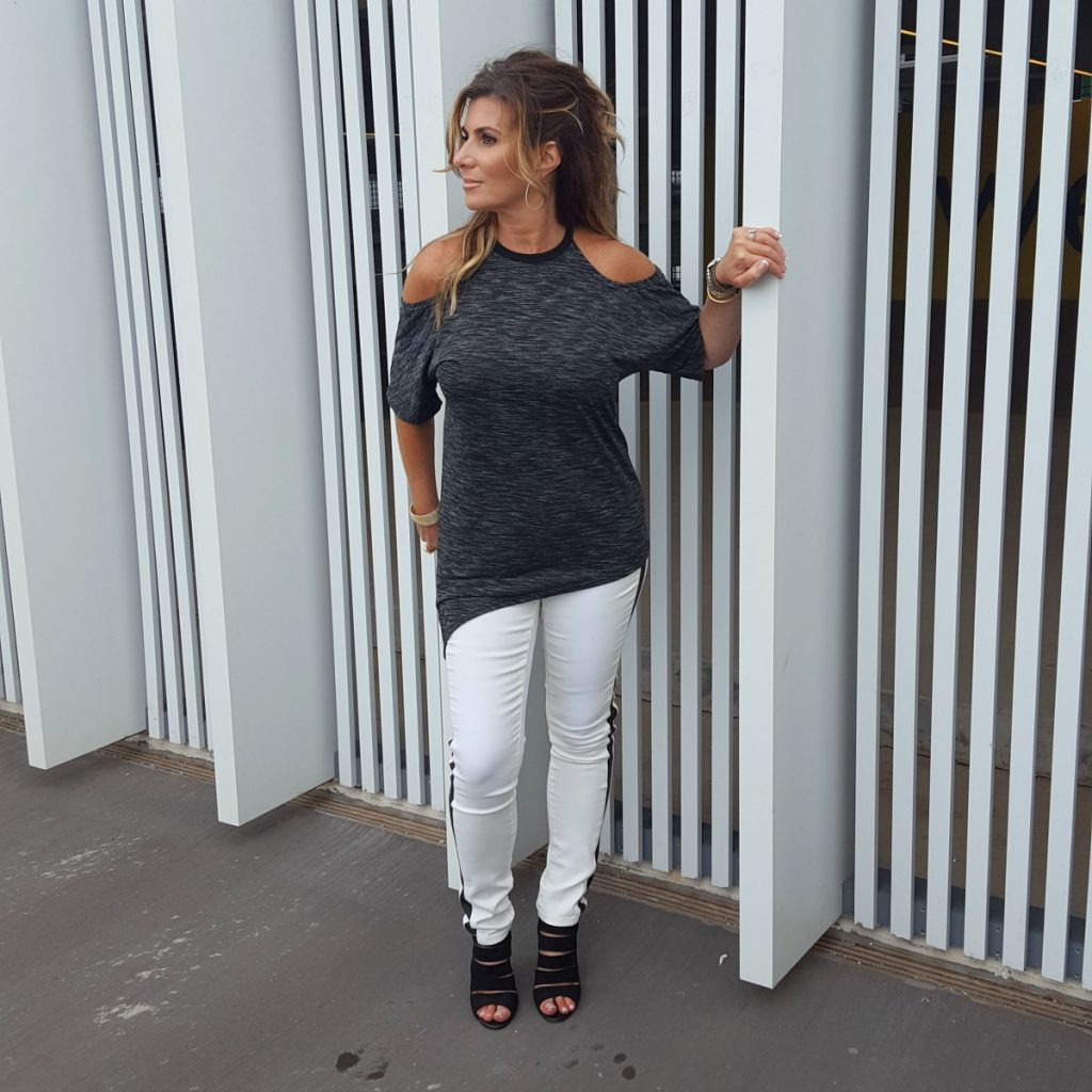 What To Wear:  Cold Shoulder Asymmetric Tee