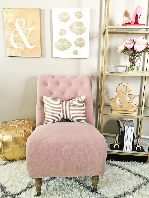 Pink Silver Living Room