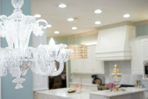 Kitchen Makeover, white waterfall marble island www.theoplife.com
