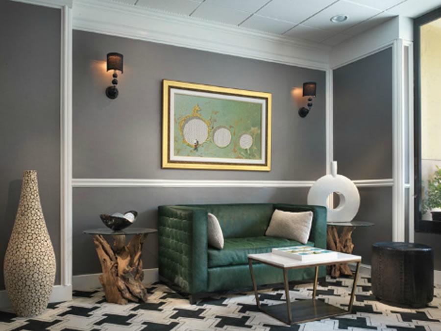 Grey Classic Contemporary Interior Design Reading Space Green Sofa