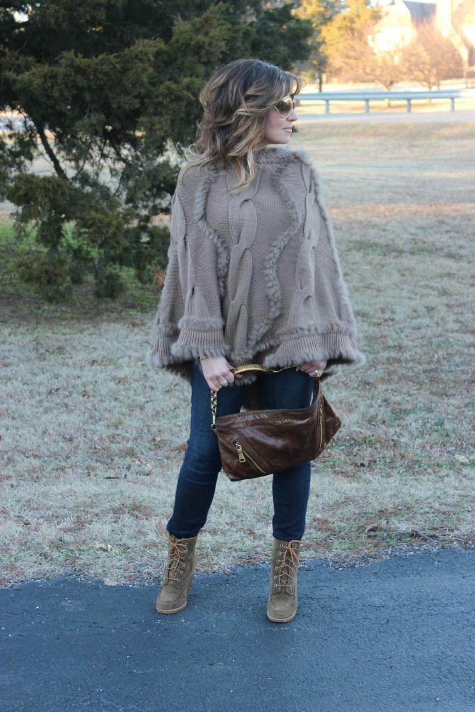 Fur Hooded Poncho Prada Bag The OP Life