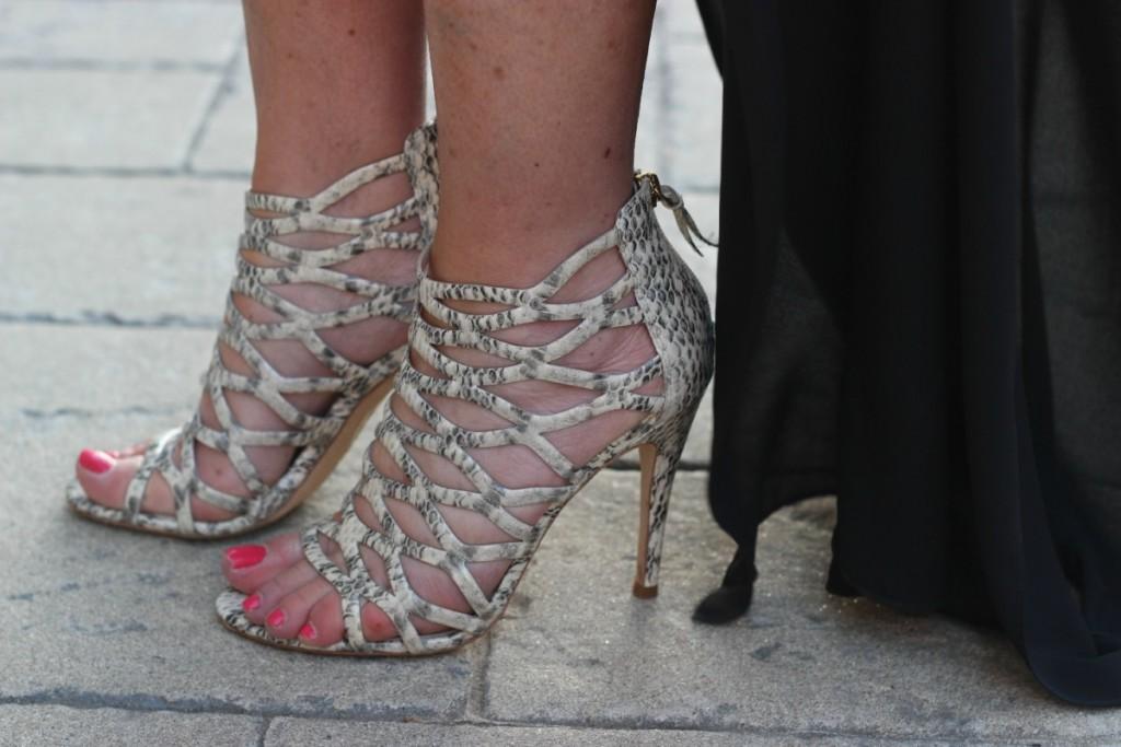 Elie Tahari snake sandals LBD reinvented