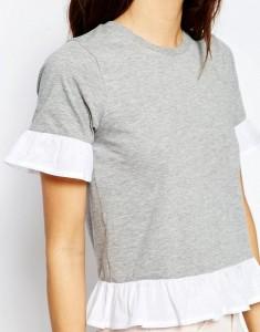 grey white ruffled top